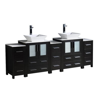 Torino 84 Double Bathroom Vanity Set Base Finish: Espresso