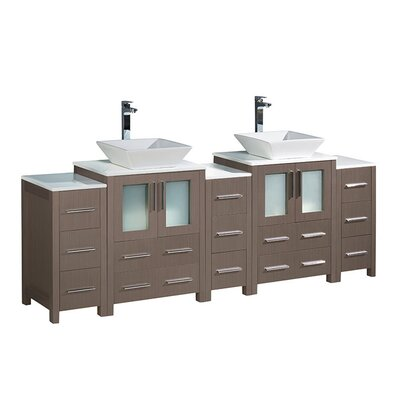 Torino 84 Double Bathroom Vanity Set Base Finish: Gray Oak