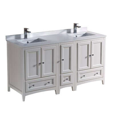 Oxford 60 Double Bathroom Vanity Set Base Finish: Antique White