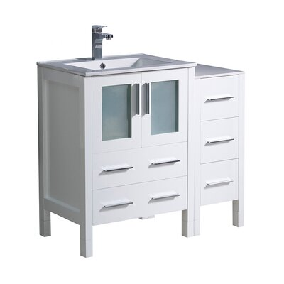 Torino 36 Single Bathroom Vanity Set Base Finish: White