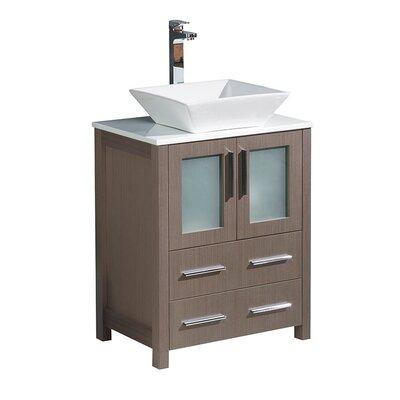 Torino 24 Single Bathroom Vanity Set Base Finish: Gray Oak