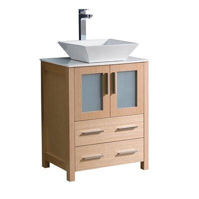 Torino 24 Single Bathroom Vanity Set Base Finish: Light Oak