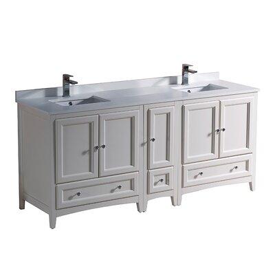 Oxford 72 Double Bathroom Vanity Set Base Finish: Antique White