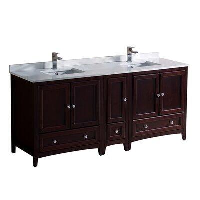 Oxford 72 Double Bathroom Vanity Set Base Finish: Mahogany