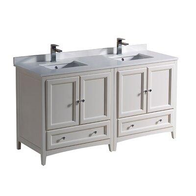 Oxford 60 Double Bathroom Vanity Set Base Finish: Antique White