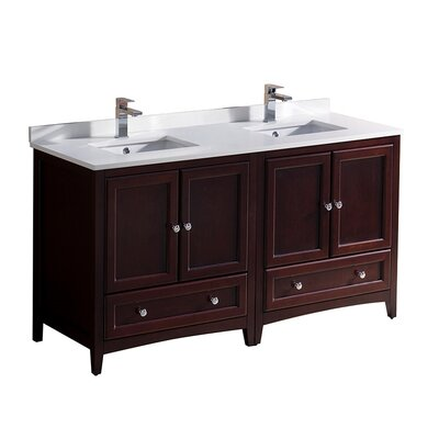 Oxford 60 Double Bathroom Vanity Set Base Finish: Mahogany