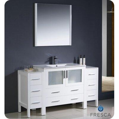Torino 60 Single Modern Bathroom Vanity Set with Mirror Base Finish: White