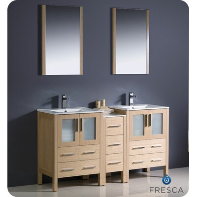 Torino 60 Double Modern Sink Bathroom Vanity Set with Mirror Base Finish: Light Oak