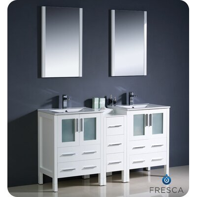 Torino 60 Double Modern Sink Bathroom Vanity Set with Mirror Base Finish: White