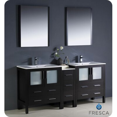 Torino 72 Double Modern Sink Bathroom Vanity Set with Mirror Base Finish: Espresso
