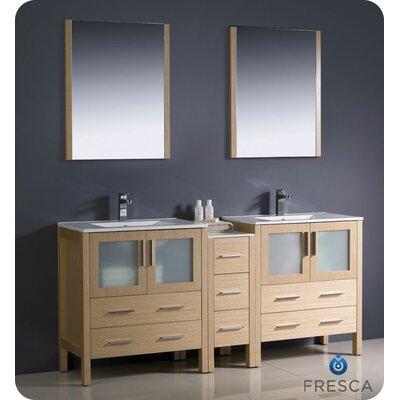 Torino 72 Double Modern Sink Bathroom Vanity Set with Mirror Base Finish: Light Oak