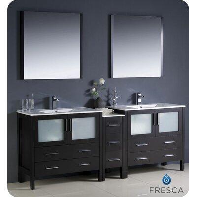 Torino 84 Double Modern Bathroom Vanity Set with Mirror Base Finish: Espresso