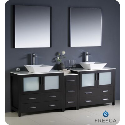 Torino 84 Double Modern Bathroom Vanity Set with Mirror Base Finish: Espresso