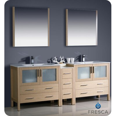 Torino 84 Double Modern Bathroom Vanity Set with Mirror Base Finish: Light Oak