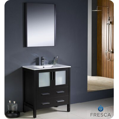 Torino 30 Single Modern Bathroom Vanity Set with Mirror Base Finish: Espresso