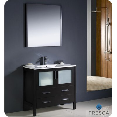 Torino 36 Single Modern Bathroom Vanity Set with Mirror Base Finish: Espresso