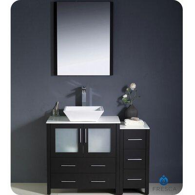 Torino 42 Single Bathroom Vanity Set with Mirror Base Finish: Espresso