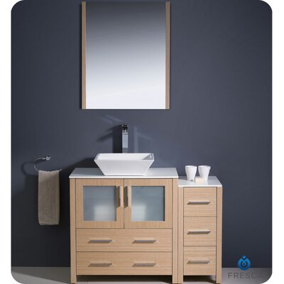 Torino 42 Single Bathroom Vanity Set with Mirror Base Finish: Light Oak