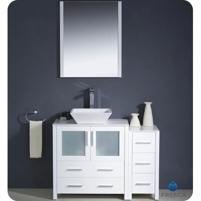 Torino 42 Single Modern Bathroom Vanity Set with Mirror Base Finish: White