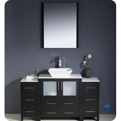 Torino 54 Single Modern Bathroom Vanity Set with Mirror Base Finish: Espresso