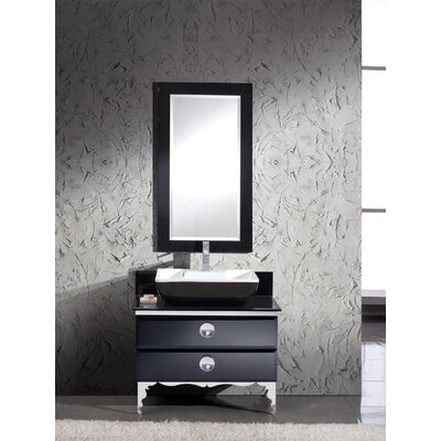 Moselle 36 Single Modern Glass Bathroom Vanity Set with Mirror