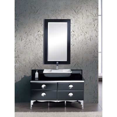 Moselle 47 Single Modern Glass Bathroom Vanity Set with Mirror