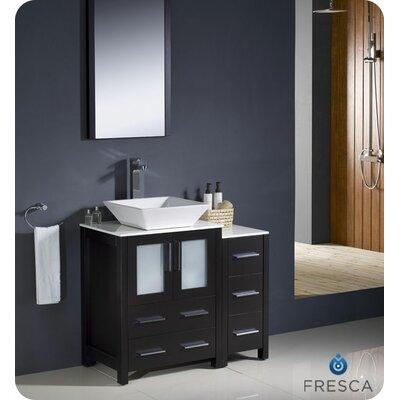 Torino 36 Single Modern Bathroom Vanity Set with Mirror Base Finish: Espresso