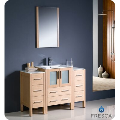 Torino 48 Single Modern Bathroom Vanity Set with Mirror Base Finish: Light Oak