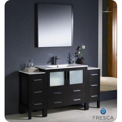 Torino 60 Single Modern Bathroom Vanity Set with Mirror Base Finish: Espresso