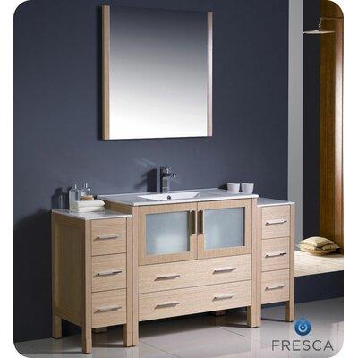 Torino 60 Single Modern Bathroom Vanity Set with Mirror Base Finish: Light Oak