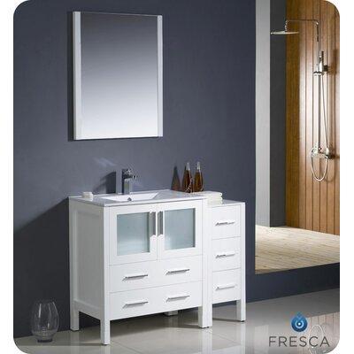 Torino 42 Single Modern Bathroom Vanity Set with Mirror Base Finish: White