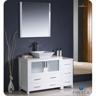 Torino 48 Single Modern Bathroom Vanity Set with Mirror Base Finish: White