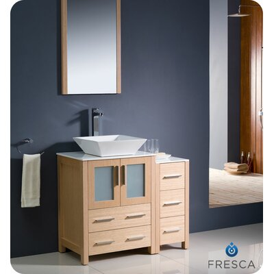 Torino 36 Single Modern Bathroom Vanity Set with Mirror Base Finish: Light Oak