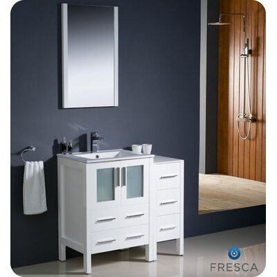 Torino 36 Single Modern Bathroom Vanity Set with Mirror Base Finish: White