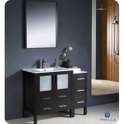 Torino 42 Single Modern Bathroom Vanity Set with Mirror Base Finish: Espresso