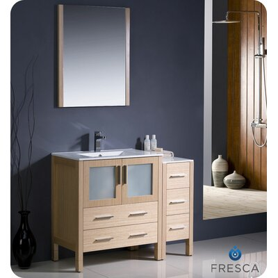 Torino 42 Single Modern Bathroom Vanity Set with Mirror Base Finish: Light Oak