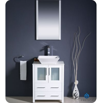 Torino 24 Single Modern Bathroom Vanity Set with Mirror Base Finish: White