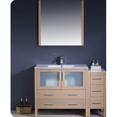 Torino 48 Single Modern Bathroom Vanity Set with Mirror Base Finish: Light Oak