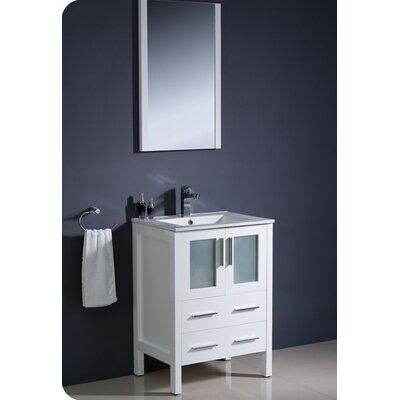 Torino 24 Single Modern Bathroom Vanity Set with Mirror Base Finish: White