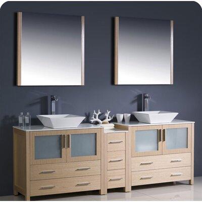 Torino 84 Double Modern Bathroom Vanity Set with Mirror Base Finish: Light Oak