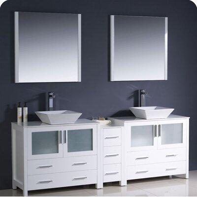Torino 84 Double Modern Bathroom Vanity Set with Mirror Base Finish: White