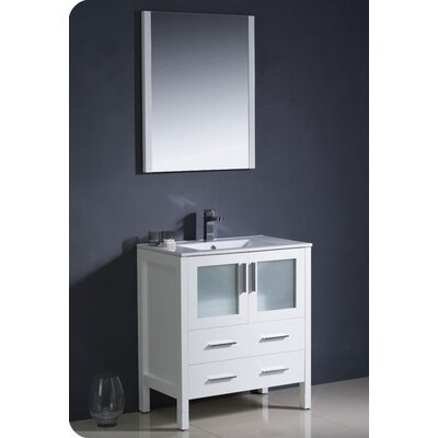Torino 30 Single Modern Bathroom Vanity Set with Mirror Base Finish: White