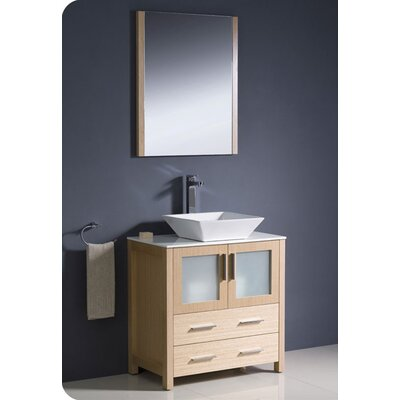Torino 30 Single Modern Bathroom Vanity Set with Mirror Base Finish: Light Oak