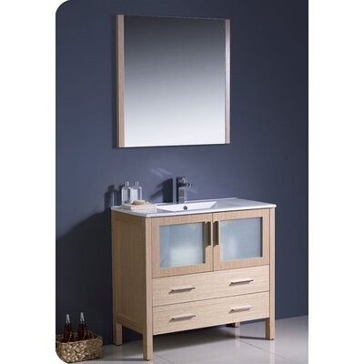Torino 36 Single Modern Bathroom Vanity Set with Mirror Base Finish: Light Oak