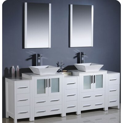 Torino 84 Double Modern Bathroom Vanity Set with Mirror Base Finish: White