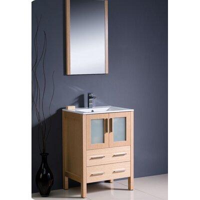 Torino 24 Single Modern Bathroom Vanity Set with Mirror Base Finish: Light Oak
