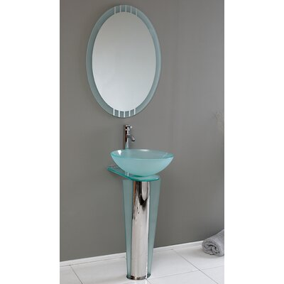 "Vetro 16.5"" Vitale Modern Glass Bathroom Vanity Set with Mirror"
