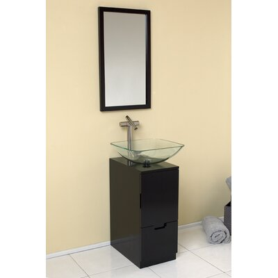 Stella 17 Single Brilliante Modern Bathroom Vanity Set with Mirror Base Finish: Espresso
