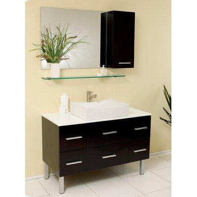 Stella 43 Single Distante Modern Bathroom Vanity Set with Mirror Base Finish: Espresso