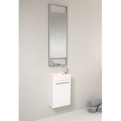 Senza 16 Single Bathroom Vanity Set with Mirror Base Finish: White